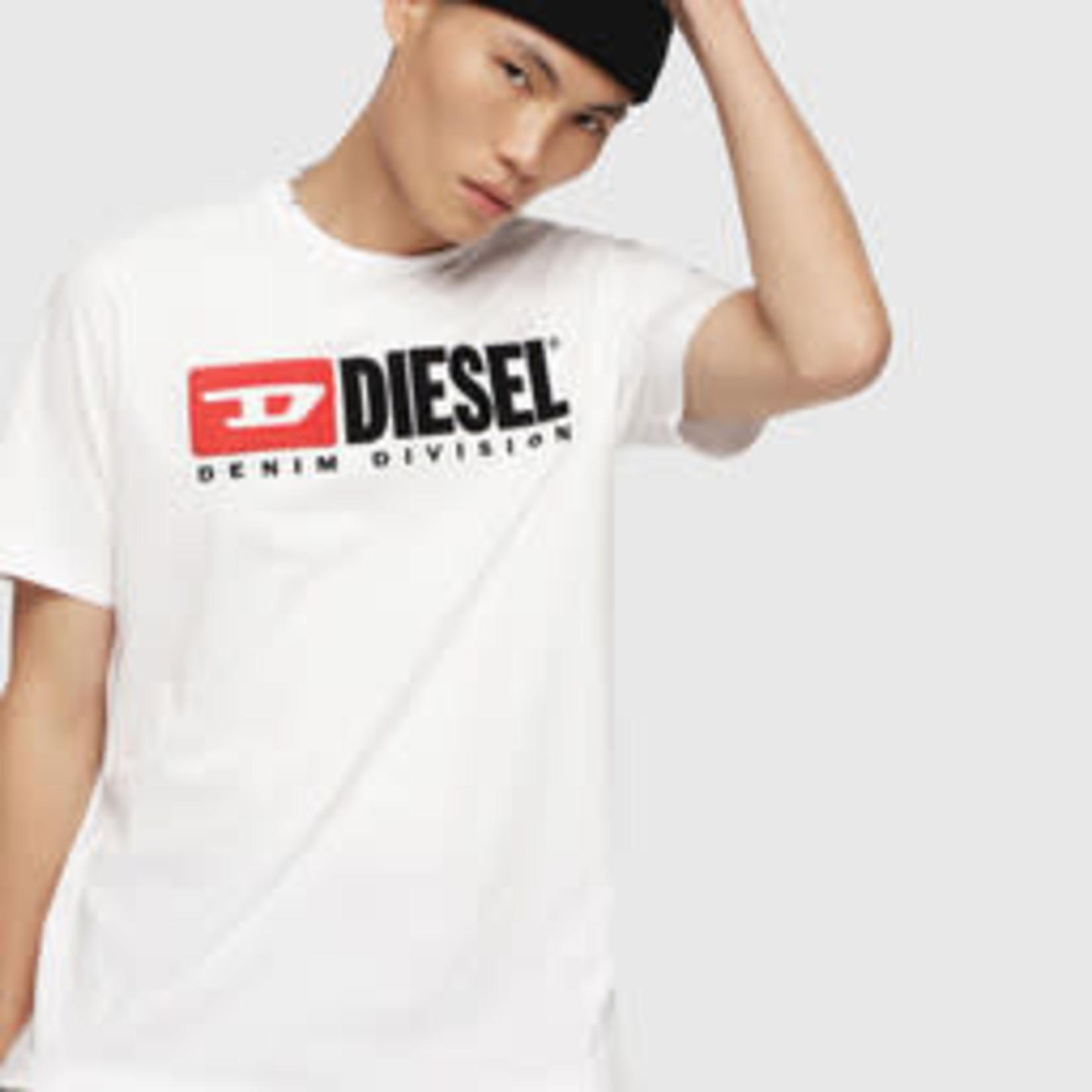 DIESEL DIESEL T-SHIRT T-JUST-DIVISION WHITE