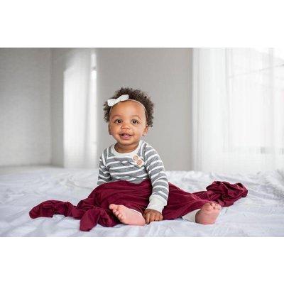 Copper Pearl knit swaddle blanket - ruby