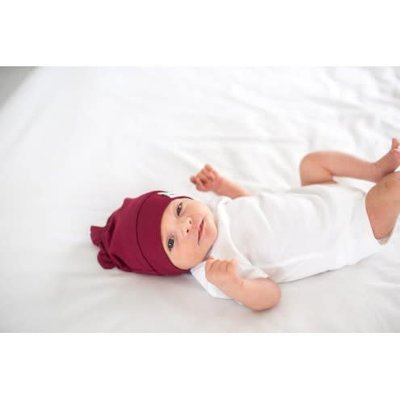 Copper Pearl newborn top knot hat - ruby
