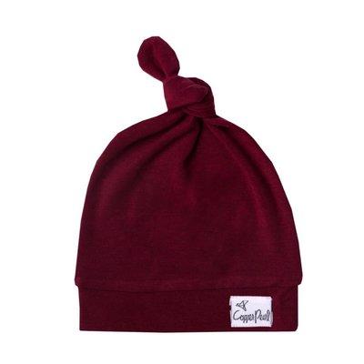 newborn top knot hat - ruby