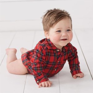 Mud Pie Red Tartan Plaid Crawler