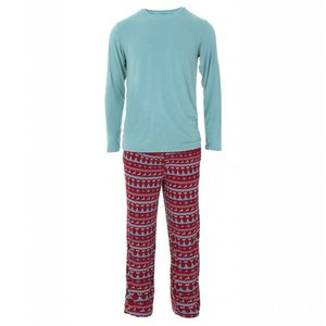 Kickee Pants Men's Holiday Long Sleeve Pajama Set (Nordic Print)
