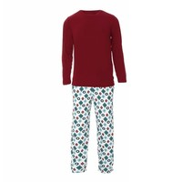 Kickee Pants Men's Holiday Long Sleeve Pajama Set (Natural Vintage Ornaments)