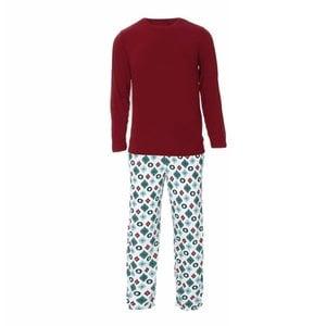 Kickee Pants Men's Holiday Long Sleeve Pajama Set (Natural Vintage Ornaments)