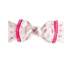 Baby Bling Trimmed Printed Knot Mini Pom (Baby Love)