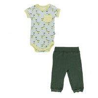 Print Short Sleeve Pocket One Piece and Pant Outfit Set (Spring Sky Scooter)