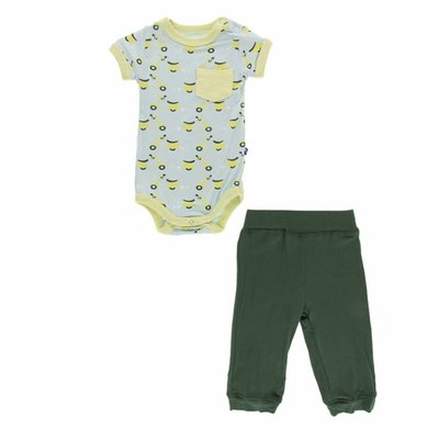Kickee Pants Print Short Sleeve Pocket One Piece and Pant Outfit Set (Spring Sky Scooter)
