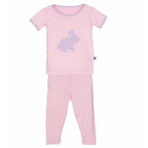 Kickee Pants Holiday Short Sleeve Applique Pajama Set (Lotus Bunny)