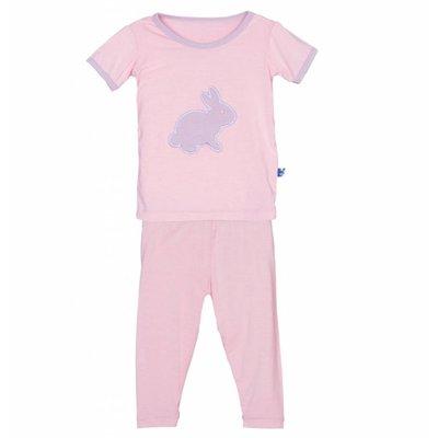 Kickee Pants Holiday Short Sleeve Applique Pajama Set (Lotus Bunny)