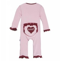 Kickee Pants Holiday Layette Classic Ruffle Applique Coverall (Lotus Sweet Heart)