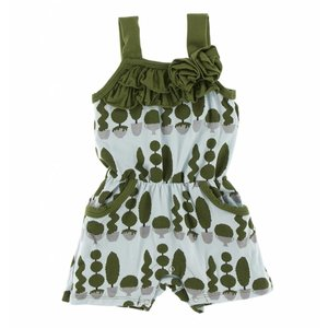 Kickee Pants Print Flower Romper with Pockets (Spring Sky Villa Garden)