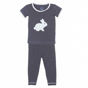 Kickee Pants Holiday Short Sleeve Applique Pajama Set (Stone Bunny)