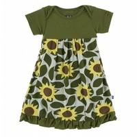 Kickee Pants Print Short Sleeve One Piece Dress Romper (Aloe Sunflower)