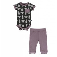 Print Short Sleeve Pocket One Piece and Pant Outfit Set (Zebra Tuscan Cow)