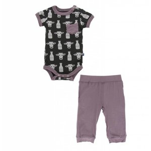 Kickee Pants Print Short Sleeve Pocket One Piece and Pant Outfit Set (Zebra Tuscan Cow)