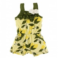 Kickee Pants Print Flower Romper with Pockets (Lime Blossom Lemon Tree)
