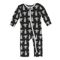 Kickee Pants Print Coverall with Zipper (Zebra Tuscan Cow)