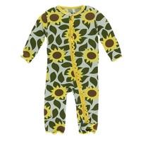 Kickee Pants Print Muffin Ruffle Coverall with Zipper (Aloe Sunflower)