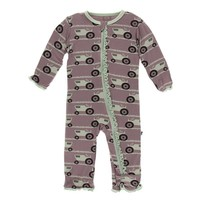 Kickee Pants Print Muffin Ruffle Coverall with Zipper (Raisin Tractor and Grass)