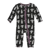 Kickee Pants Print Muffin Ruffle Coverall with Zipper (Zebra Tuscan Cow)