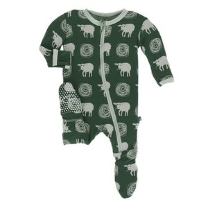 Kickee Pants Print Footie with Zipper (Topiary Tuscan Sheep)