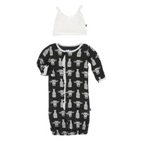 Kickee Pants Print Ruffle Layette Gown Converter and Double Knot Hat Set (Zebra Tuscan Cow)