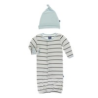 Kickee Pants Print Layette Gown Converter & Knot Hat Set (Tuscan Afternoon Stripe)