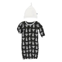 Kickee Pants Print Layette Gown Converter & Knot Hat Set (Zebra Tuscan Cow)