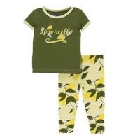 Kickee Pants Print Short Sleeve Pajama Set (Lime Blossom Lemon Tree)
