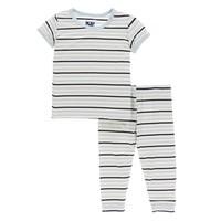 Kickee Pants Print Short Sleeve Pajama Set (Tuscan Afternoon Stripe)