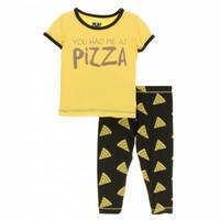 Kickee Pants Print Short Sleeve Pajama Set (You Had Me At Pizza)