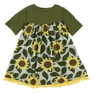 Kickee Pants Print Classic Short Sleeve Swing Dress (Aloe Sunflower)