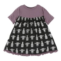 Kickee Pants Print Classic Short Sleeve Swing Dress (Zebra Tuscan Cow)