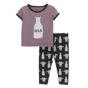 Kickee Pants Print Short Sleeve Pajama Set (Zebra Tuscan Cow)