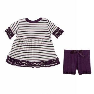 Kickee Pants Print Short Sleeve Babydoll Outfit Set (Tuscan Vineyard Stripe)