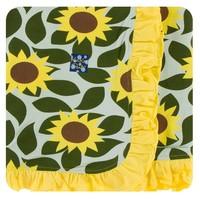 Kickee Pants Print Ruffle Stroller Blanket (Aloe Sunflower - One Size)