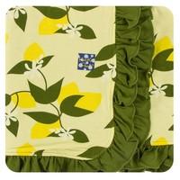 Kickee Pants Print Ruffle Stroller Blanket (Lime Blossom Lemon Tree - One Size)