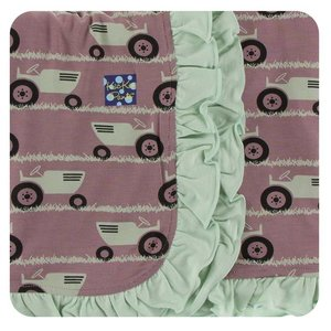Kickee Pants Print Ruffle Stroller Blanket (Raisin Tractor and Grass - One Size)