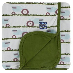 Kickee Pants Print Stroller Blanket (Natural Tractor and Grass - One Size)