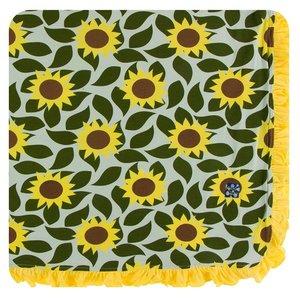 Kickee Pants Print Ruffle Toddler Blanket (Aloe Sunflower - One Size)