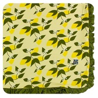 Kickee Pants Print Ruffle Toddler Blanket (Lime Blossom Lemon Tree - One Size)