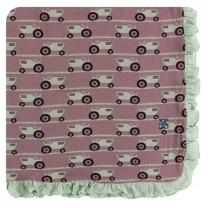 Kickee Pants Print Ruffle Toddler Blanket (Raisin Tractor and Grass - One Size)