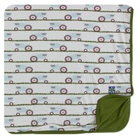 Kickee Pants Print Toddler Blanket (Natural Tractor and Grass - One Size)