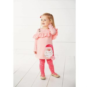 Mud Pie PINK SANTA RUFFLE DRESS & TIGHT SET