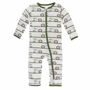 Kickee Pants Print Coverall with Zipper (Natural Tractor and Grass)