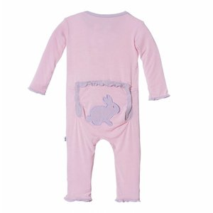 Kickee Pants Holiday Layette Classic Ruffle Applique Coverall (Lotus Bunny