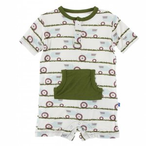 Kickee Pants Print Kangaroo Romper (Natural Tractor and Grass)