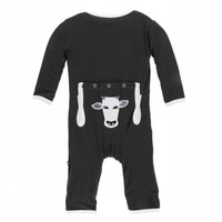 Kickee Pants Applique Coverall with Zipper (Zebra Tuscan Cow)