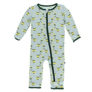 Kickee Pants Print Coverall with Zipper (Spring Sky Scooter)