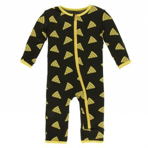 Kickee Pants Print Coverall with Zipper (Zebra Pizza)